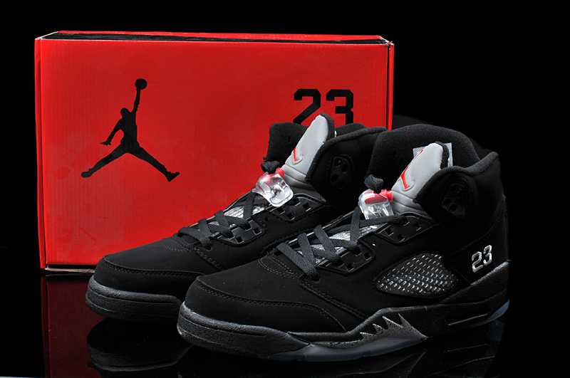 2013 Hardback Jordan 5 All Black Shoes