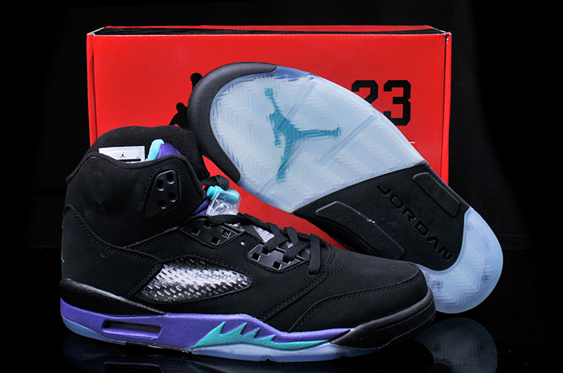 2013 Hardback Jordan 5 Black Purple Shoes