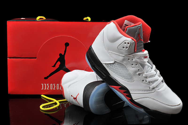 2013 Hardback Jordan 5 White Black Red Shoes