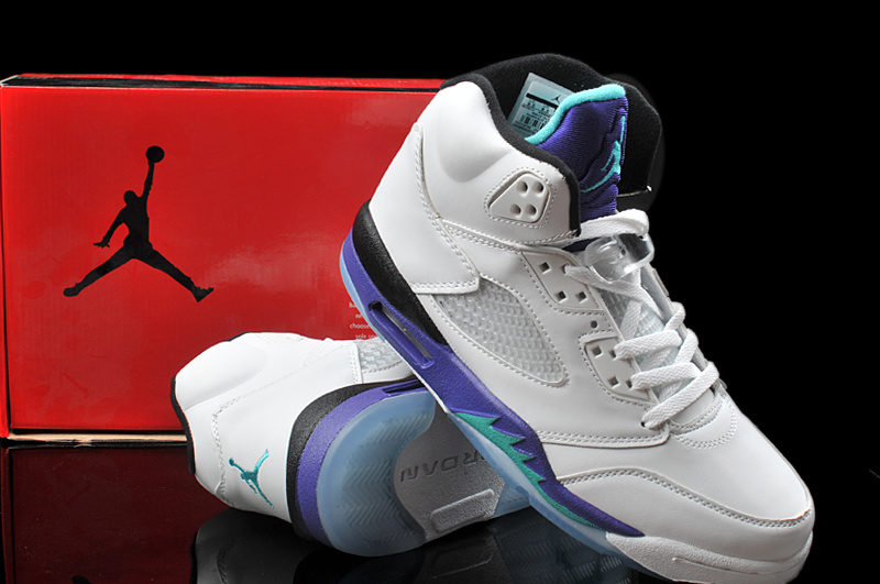 2013 Hardback Jordan 5 White Purple Shoes