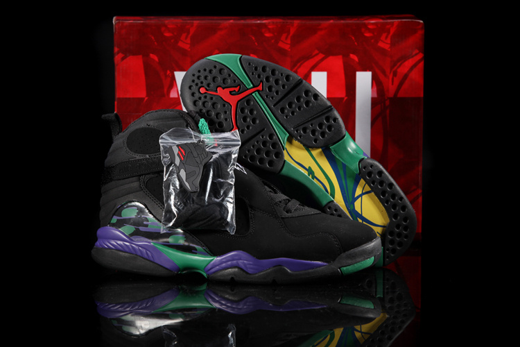 Hardback Jordan 8 Black Green Purple Shoes