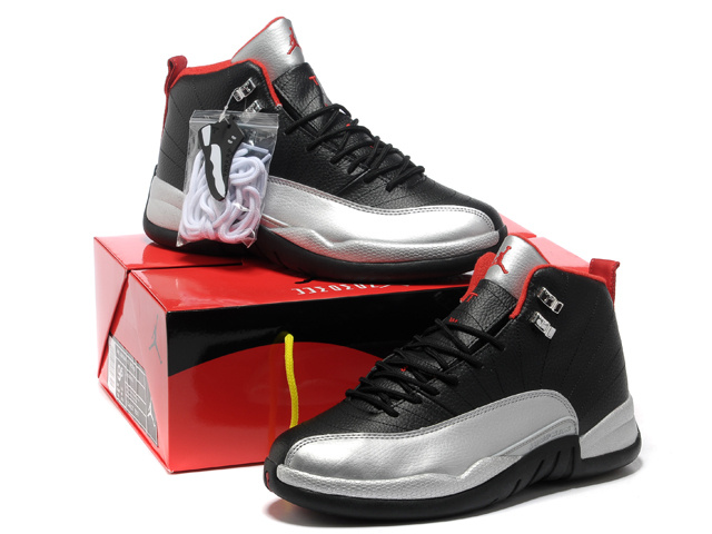 Authentic Air Jordan 12 Black Silver Red with Hardback Package
