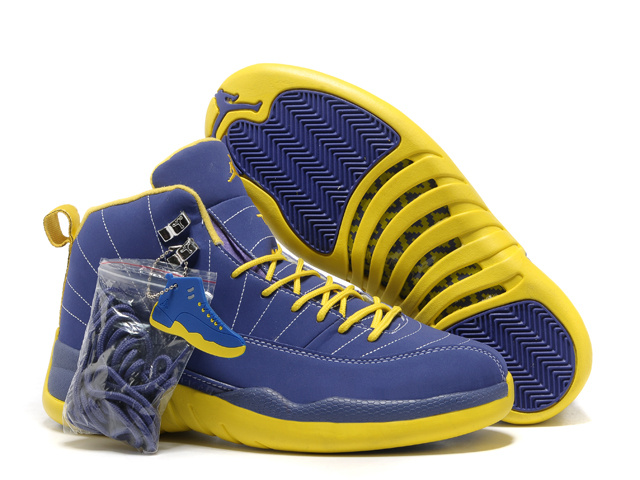 Authentic Air Jordan 12 Blue Yellow with Hardback Package