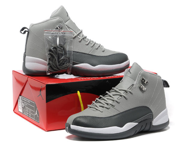 Authentic Air Jordan 12 Grey Black White with Hardback Package
