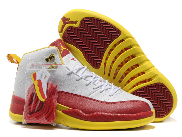 Authentic Air Jordan 12 White Red Yellow with Hardback Package