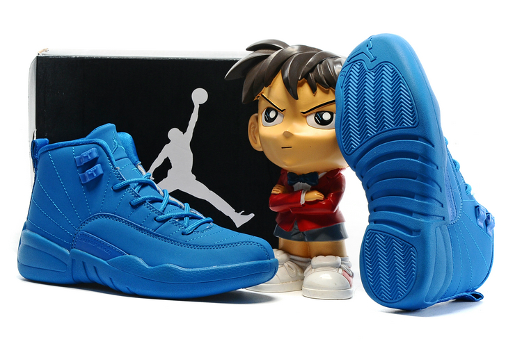Cheap Air Jordans 12 All Blue Shoes For Kids