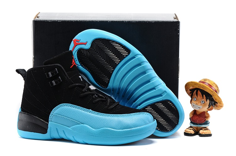 Cheap Air Jordans 12 Black Blue Shoes For Kids