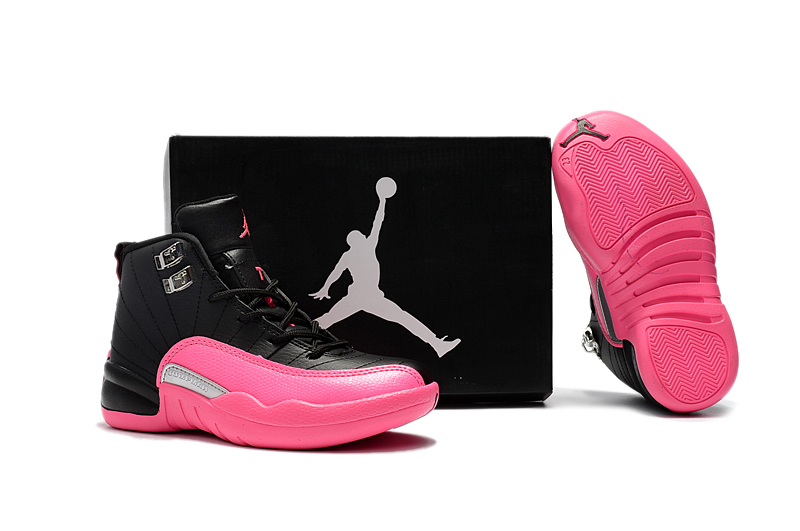 Cheap AIr Jordans 12 Black Pink Shoes For Kids