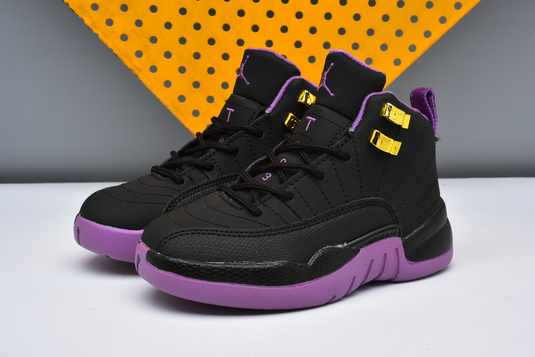 Cheap Air Jordans 12 Black Purple Shoes For Kids