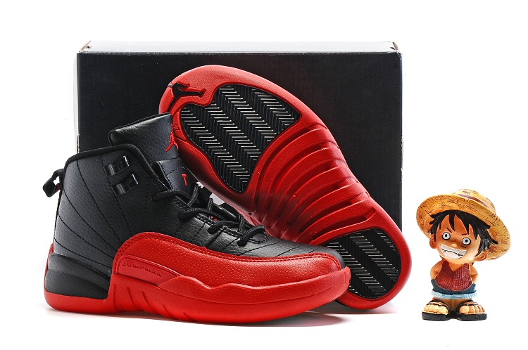 Cheap Air Jordans 12 Black Red Shoes For Kids