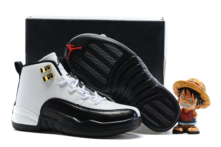 Cheap Air Jordans 12 Black White Shoes For Kids