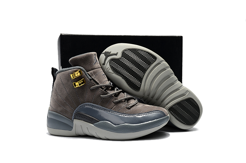 Cheap Air Jordans 12 Dark Grey Shoes For Kids