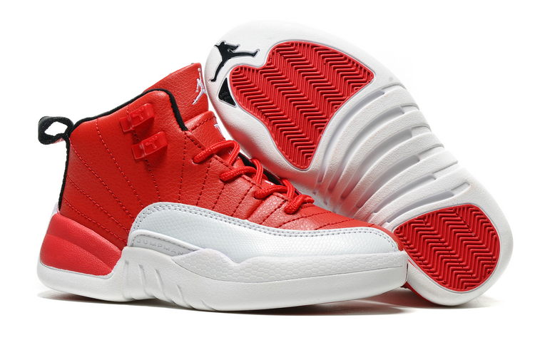 Cheap Air Jordans 12 Red White Shoes For Kids
