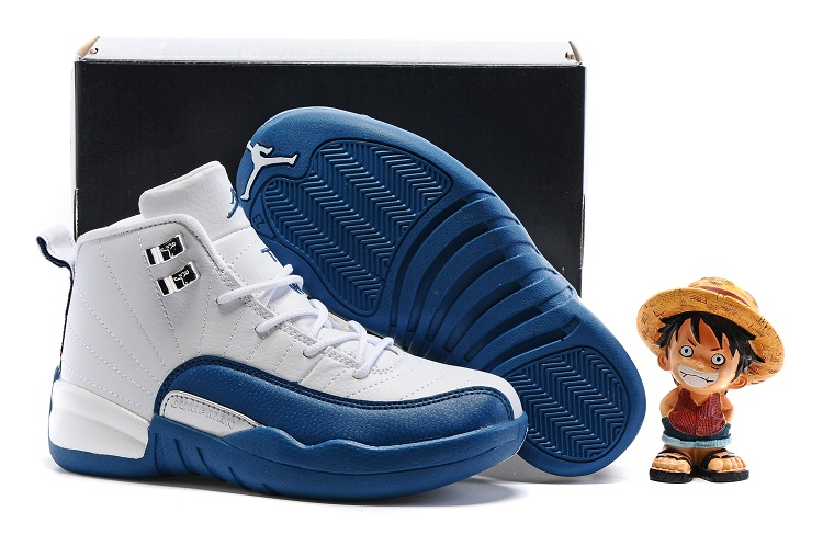 Cheap Air Jordans 12 White Blue Shoes For Kids