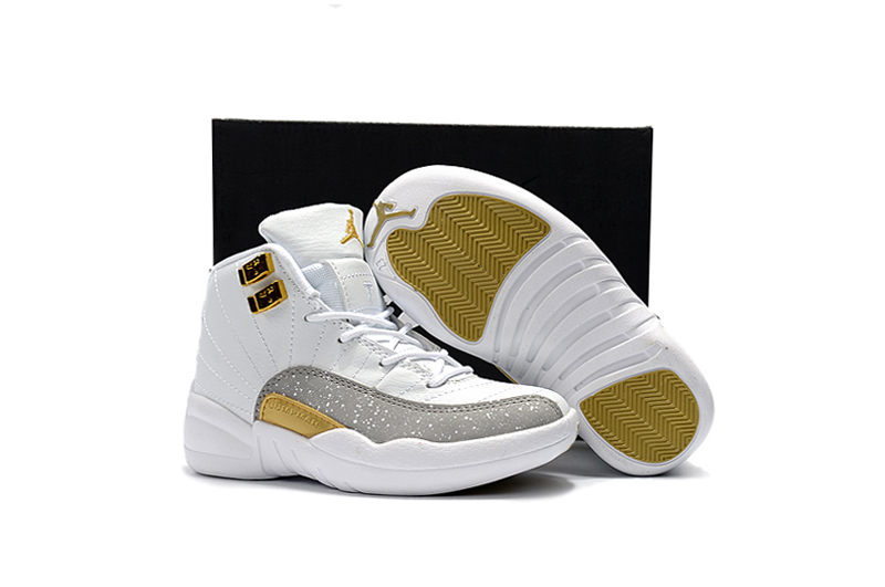 Cheap Air Jordans 12 White Gloden Shoes For Kids