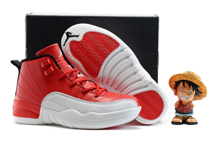 Cheap Air Jordans 12 White Red Shoes For Kids