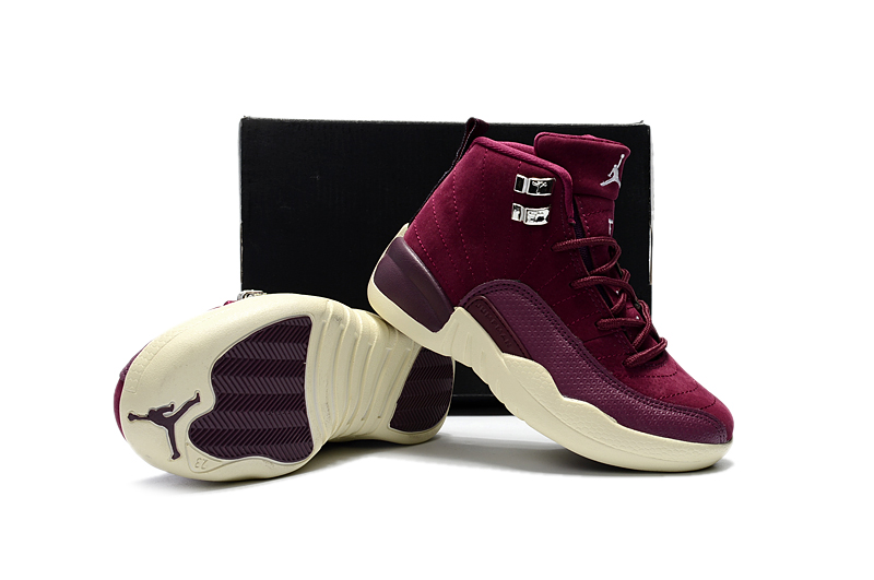 Cheap Air Jordans 12 Wine REd Shoes For Kids