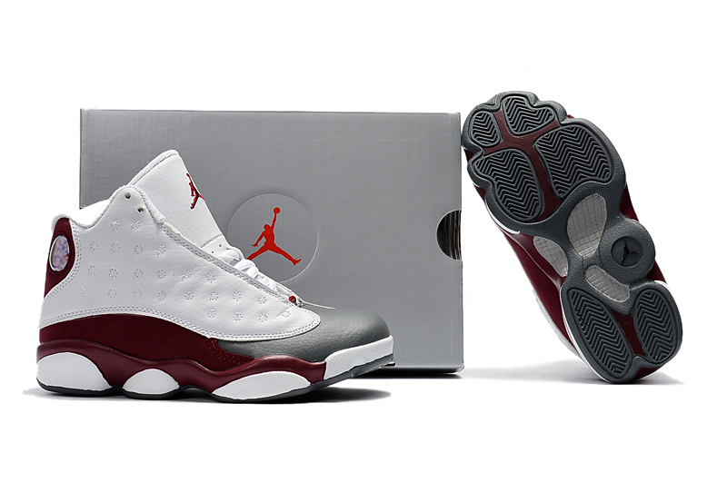 Cheap Air Jordans 13 White Wine Red Shoes For Kids