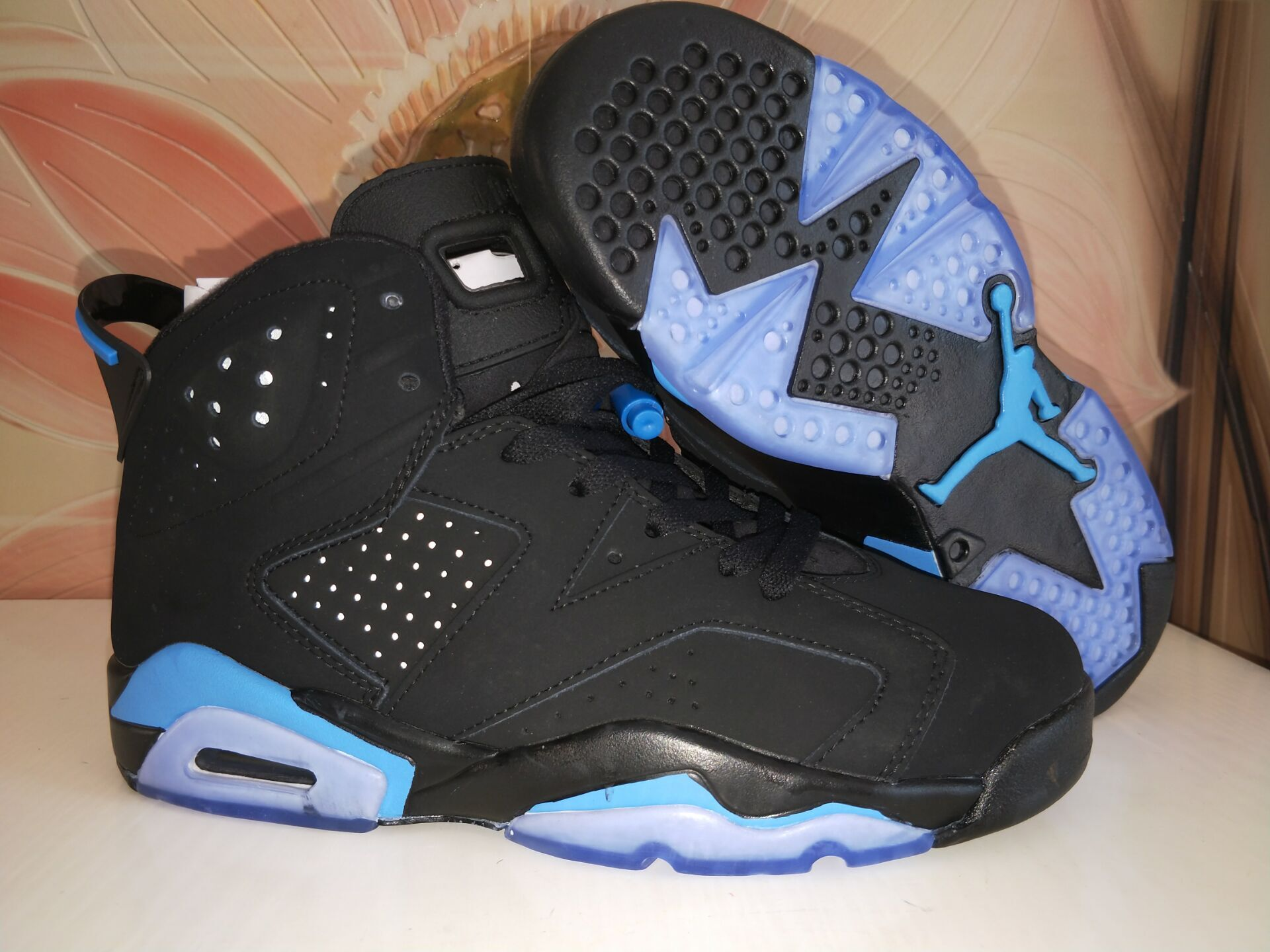 Cheap Air Jordans 6 Black Blue Steel Seal Shoes
