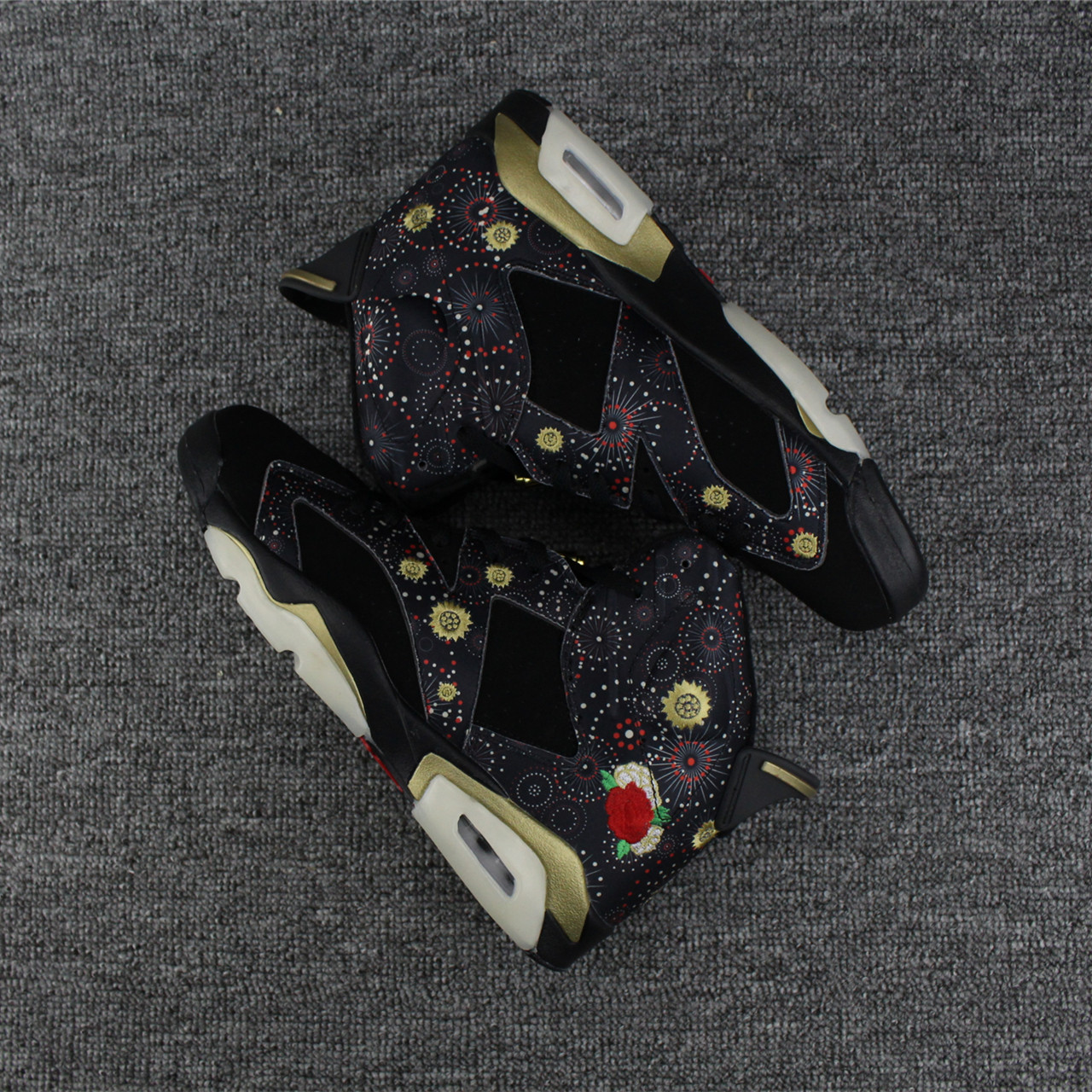 CHeap Air Jordans 6 Chinese New Year Peony Firework Embroidery
