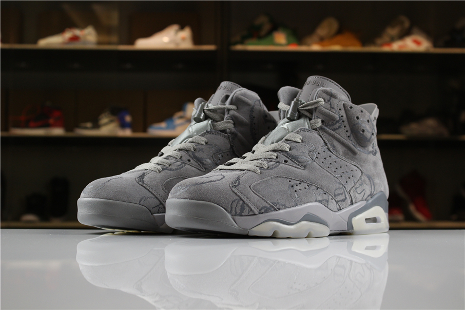 Cheap KAWS x Air Jordan 6 DIY Personal Tailor Cool Grey