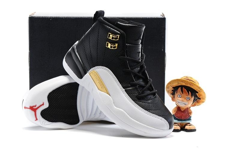 new product bba8d 7babb Kids Air Jordan 12 Retro Wings Black Metallic Gold White Shoes