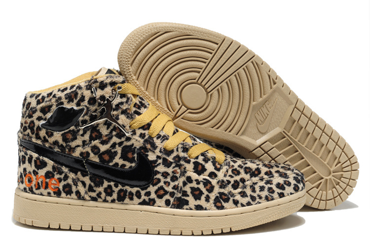 Authentic Jordan 1 Cheetah Print Leather Yellow For Kids