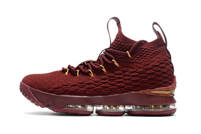 Lebron James 15 Wine Red Gloden Sneaker For Sale
