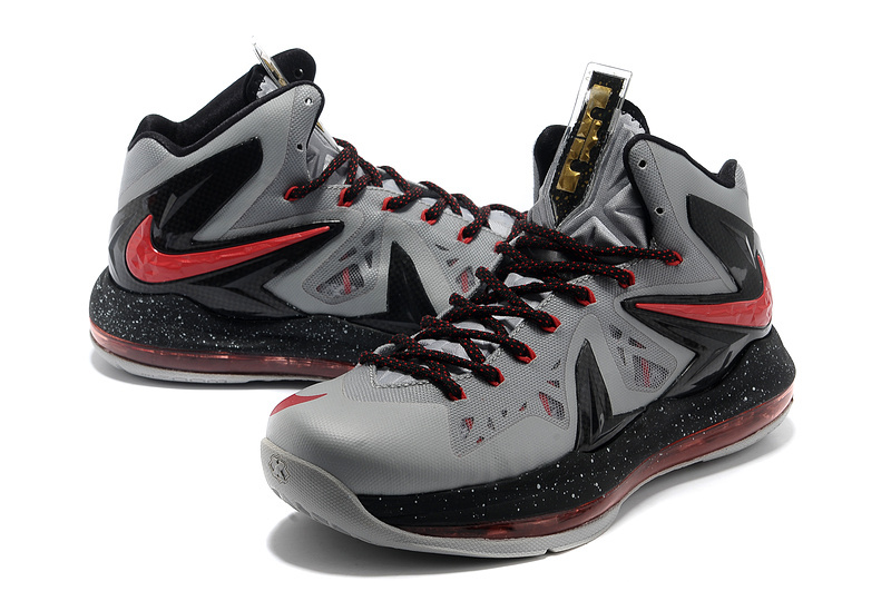 Nike Lebron James 10 Elite Grey Black Red Shoes