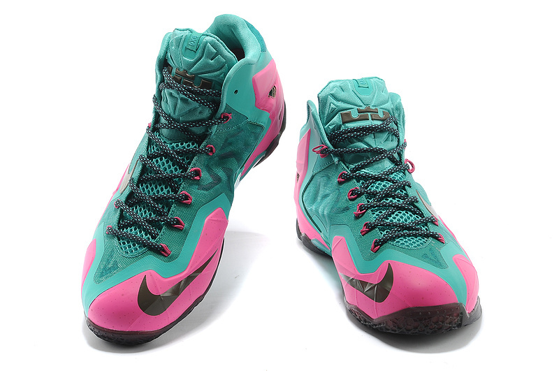 real new nike lebron 11 green pink shoes for sale