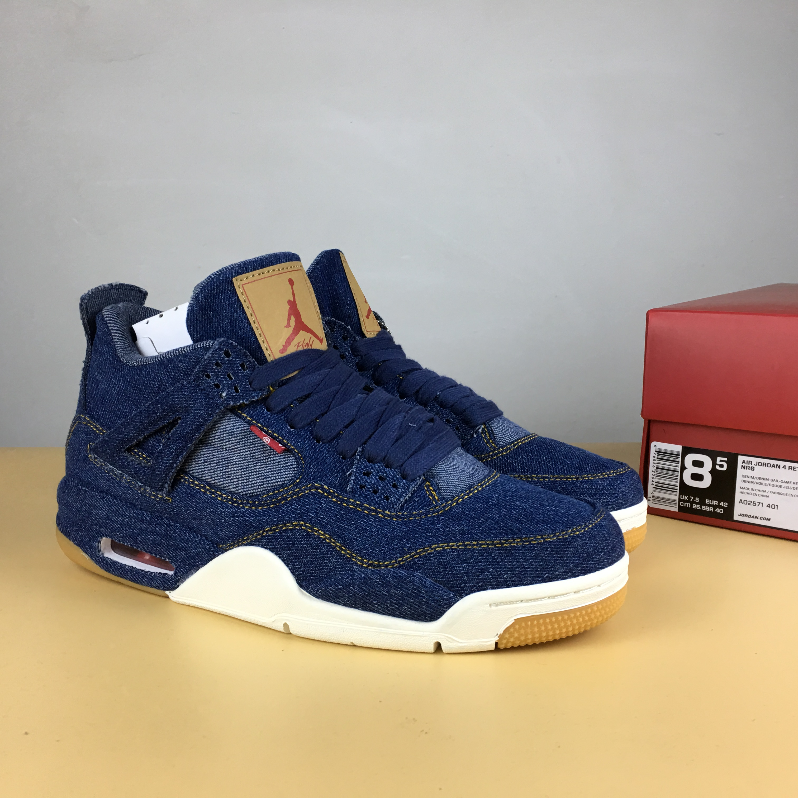 Levis x Air Jordan 4 Blue Brown Shoes
