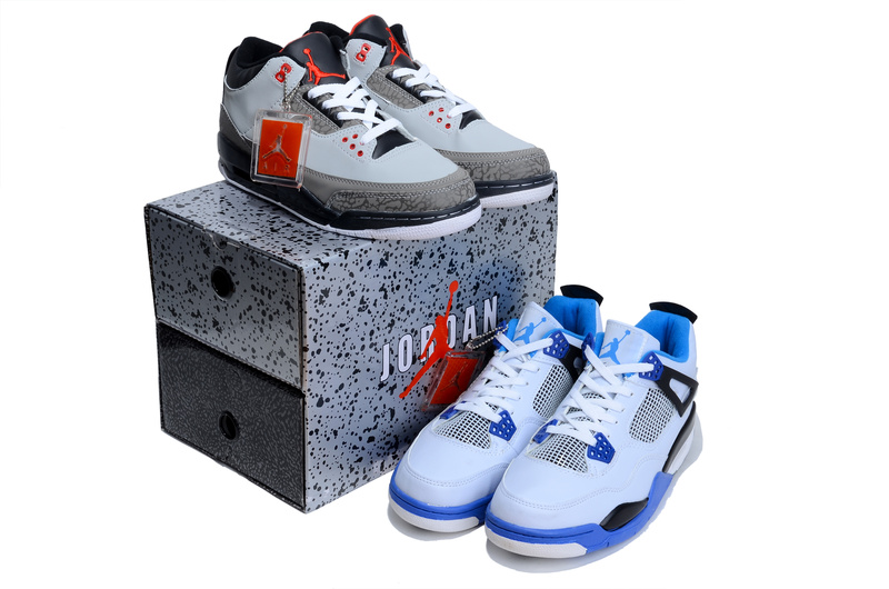 Limited Combine Grey Black Air Jordan 3 And White Blue Jordan 4