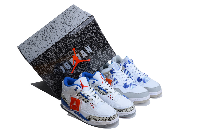 Limited Combine White Blue Air Jordan 3&4