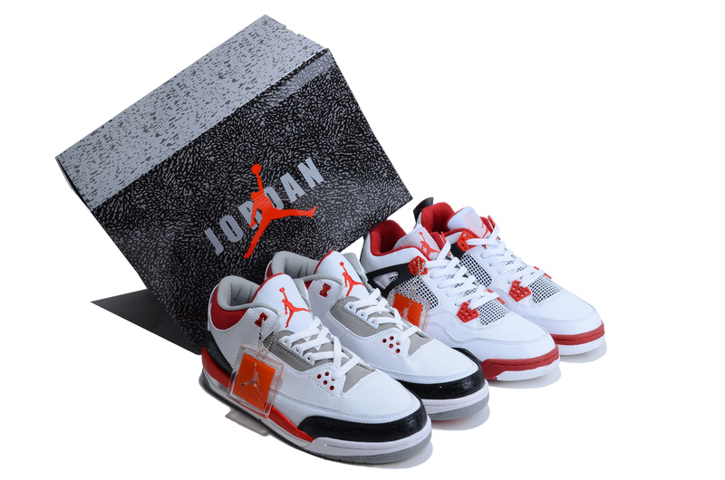 Limited Combine White Red Air Jordan 3&4
