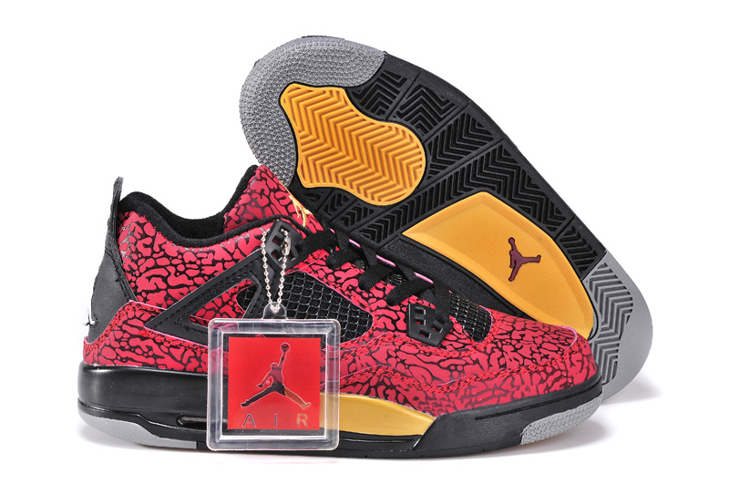 Limited Jordan 4 Crack Red Black Yellow For Women