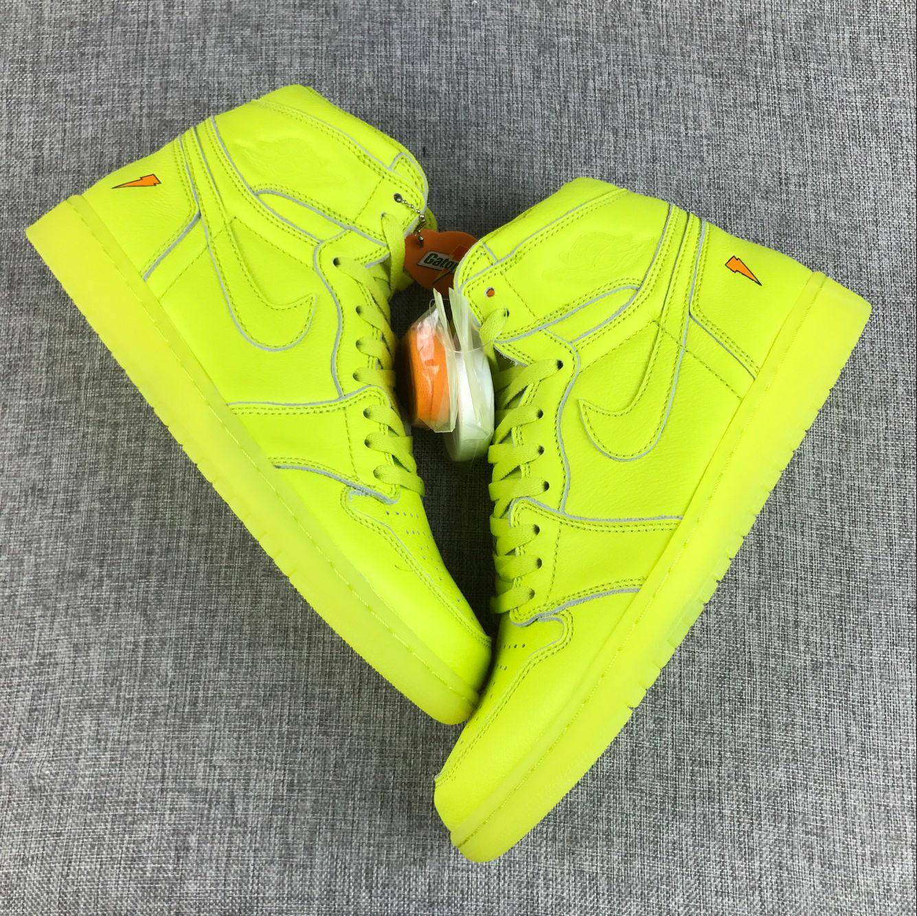 Men Jordan 1 Gatorade Fluorscent Green Shoes