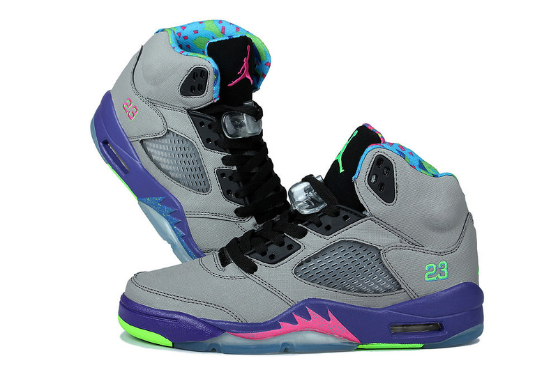 Miami Jordan 5 Mandarin Duck Edition Grey Purple For Kids