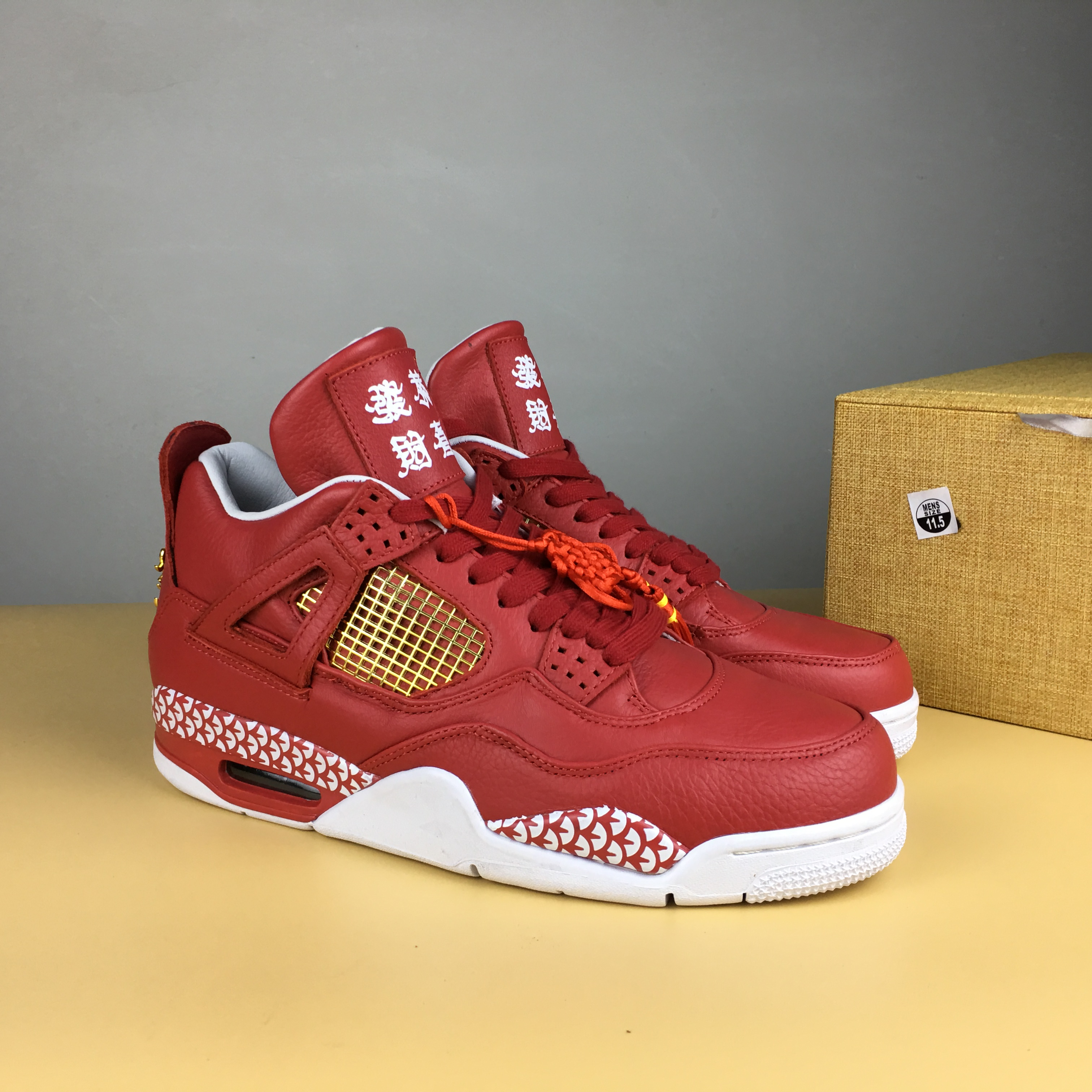 New Air Jordan 4 Kung Hei Fat Choi Red Shoes