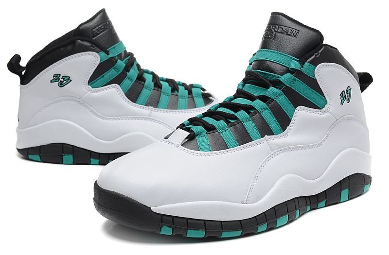 2015 Cheap Real Air Jordan 10 Retro White Green Black Shoes