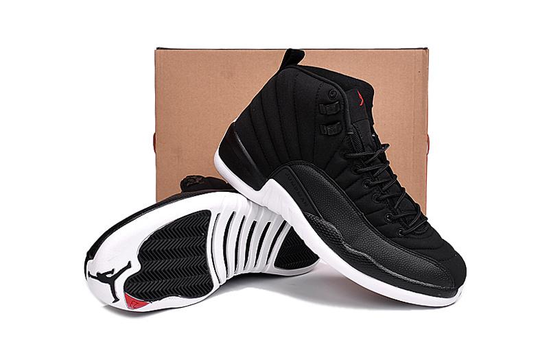 separation shoes 195d1 fba52 New Air Jordan 12 Black Nylon Black White Gym Red Shoes