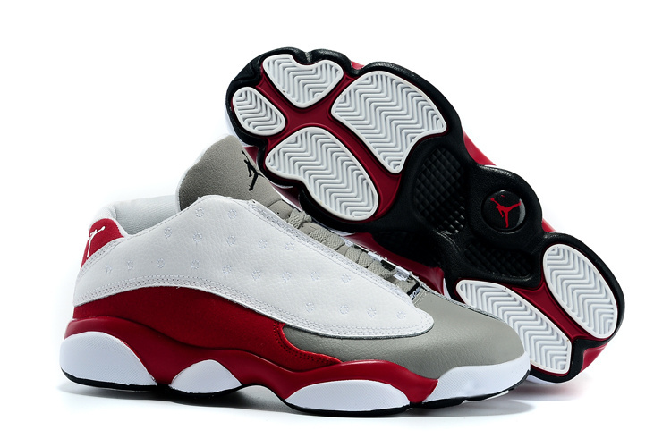 2015 Cheap Real Air Jordan 13 Low White Grey Wine Red Shoes