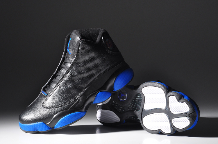 Cheap Real 2015 Air Jordan 13 Black Shine Blue Sole