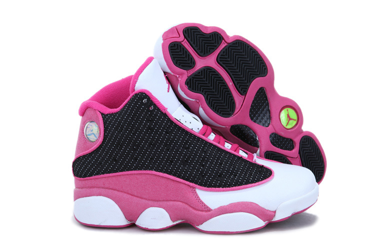Stylish Women's Air Jordan 13 White Black Pink