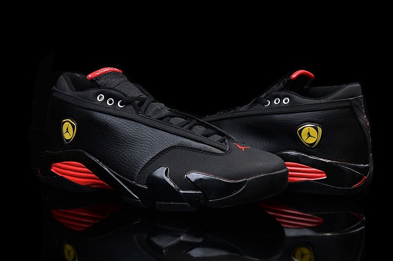 2015 Real Air Jordan 14 Low Shoes Black Red Yellow For Women