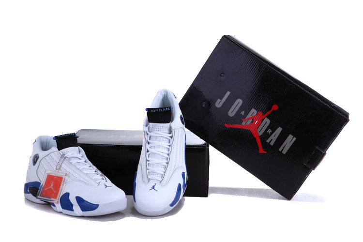 Cheap Real 2015 Air Jordan 14 White Royal Blue