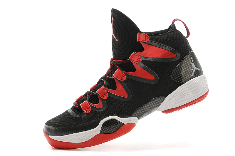 2015 Cheap Real Air Jordan 28 Black Red White Shoes