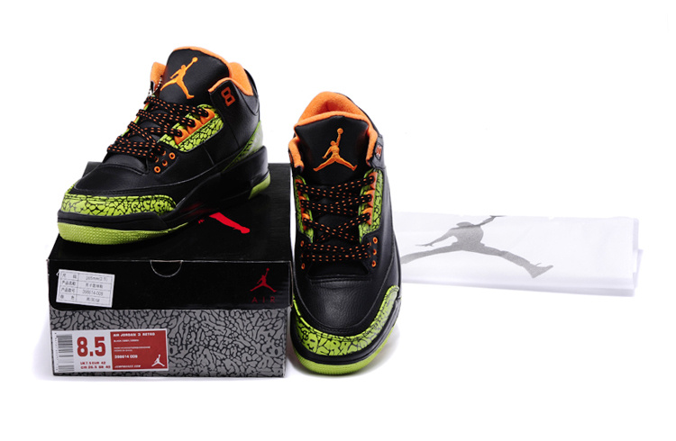 1ab9259e28a 2013 Jordan 3 Retro Black Green Cement Orange Shoes - $77.00