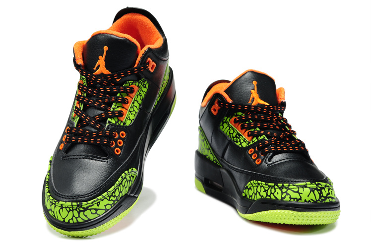 2013 Jordan 3 Black Green Orange For Kids