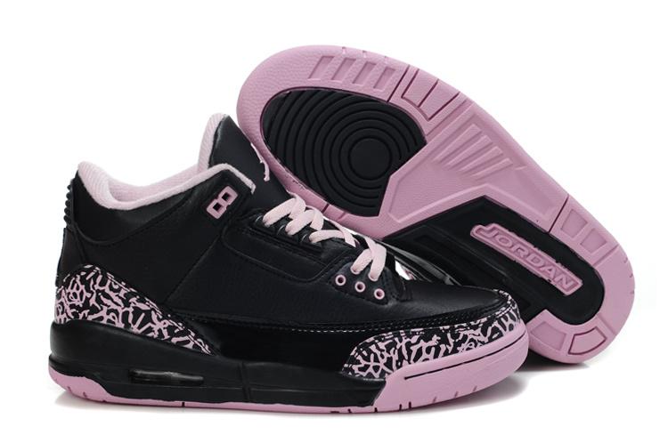 Authentic And Aporitve Women's Air Jordan 3 Black Pink