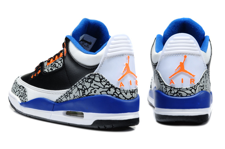 2013 Jordan 3 Black White Blue Orange For Kids